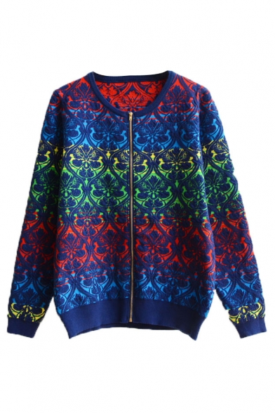 Colorblock Floral Jacquard Round Neck Zip Front Long Sleeve Cardigan