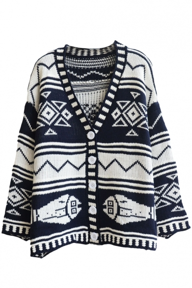 Geometric Jacquard V-Neck Single-Breasted Long Sleeve Cardigan
