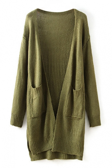 Green Plain Double Pocket Front Tunic Cardigan