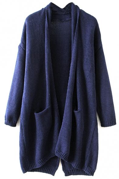 Plain Lapel Long Sleeve Laid Back Cardigan
