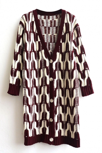 Geometric Pattern V-Neck Single-Breasted Long Sleeve Tunic Cardigan