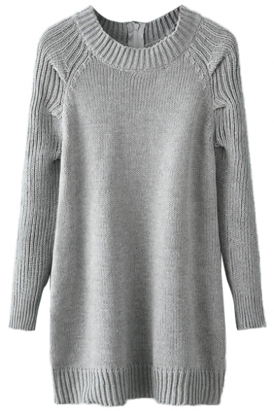Gray Long Sleeve Zipper Back Tunic Sweater - Beautifulhalo.com
