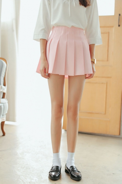 Plain Zip Back Pleated A-Line Mini Skirt