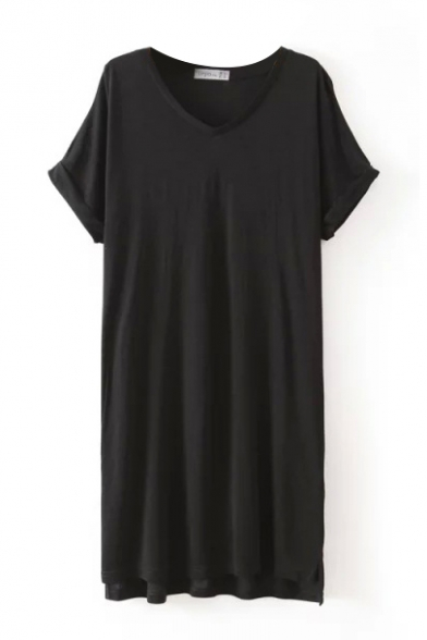 Short Sleeve V-Neck Laid Back Shift Dress