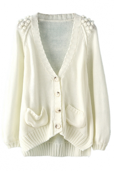 Plain High Low Ball Detail Double Pocket Cardigan