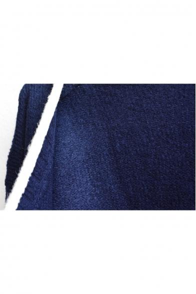 Front Long Pocket Colorblock V Cardigan Sleeve Open Double Plain Trim Neck qXAAC