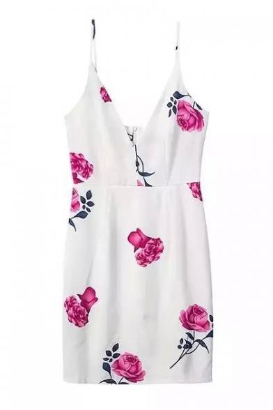 Rose Print Cami Bodycon Slip Dress