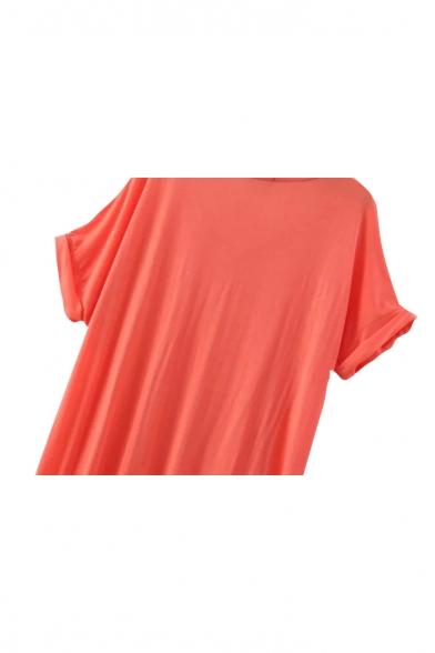 Short Sleeve V-Neck Laid Back Shift Dress