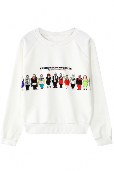 Cartoon Print Neck Long Round Sweatshirt Character Sleeve FCFqBwxAr