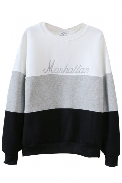 Print Sweatshirt Color Neck Block Long Round Sleeve Znq8p5