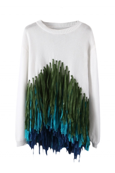 Colorful Tassel Round Neck Long Sleeve Pullover Sweater