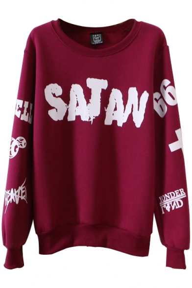 Alphabet Print Round Neck Long Sleeve Sweatshirt