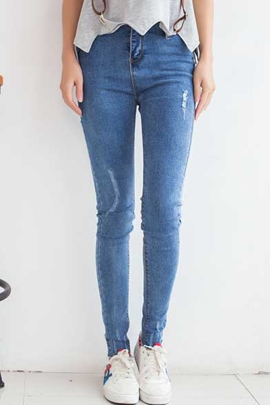 Light Blue Zip Fly Skinny Ripped Jeans