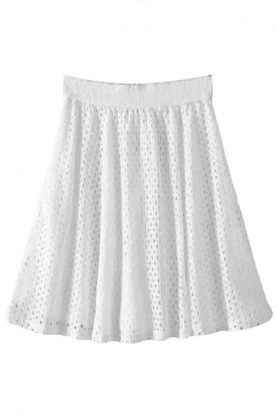 Plain Elastic Waist Lace Cutout Mini Flared Skirt
