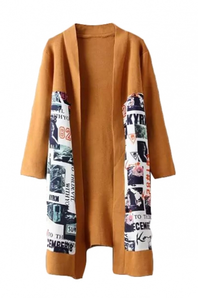 Poster Print Long Sleeve Open Front Cardigan