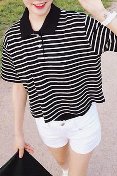 Stripe Lapel Short Sleeve Crop T-Shirt