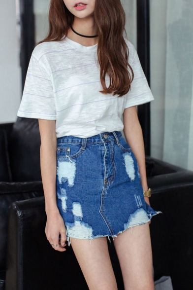 Zip Fly Ripped Denim Mini Wrap Skirt