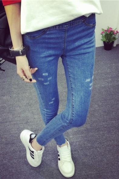 Blue Elastic Waist Skinny Ripped Jeans