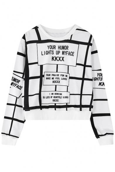 Letter Print Stripe Round Neck Long Sleeve Sweatshirt