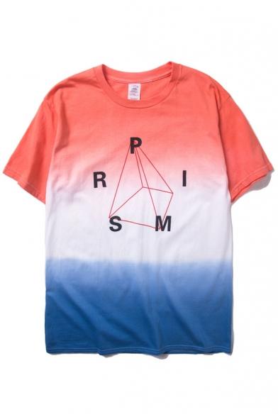 Print Neck T Round Ombre Sleeve Shirt Short Geometric 5FWcw6Rf1