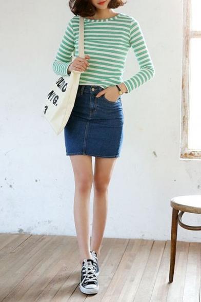 Plain Pockets Denim Mini Wrap Skirt