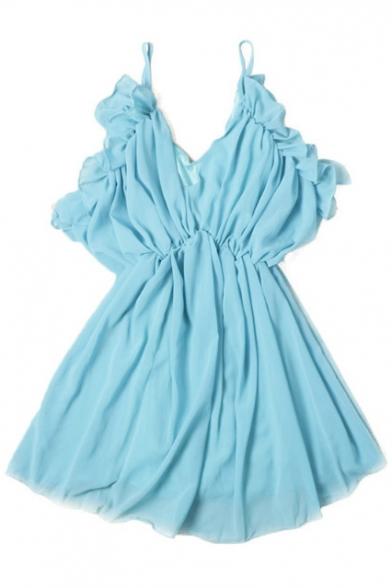 Plain Spaghetti Straps Elastic Waist Ruffle Hem Pleated Cami Dress