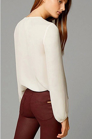 White V-Neck Ruffle Hem Long Sleeve Shirt