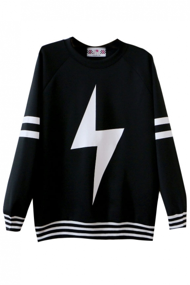 Lightning Print Round Neck Long Sleeve Sweatshirt