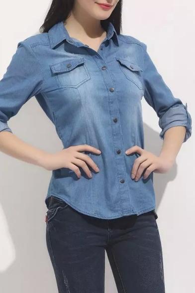 Plain Lapel Double Pocket Single Breasted Denim Shirt
