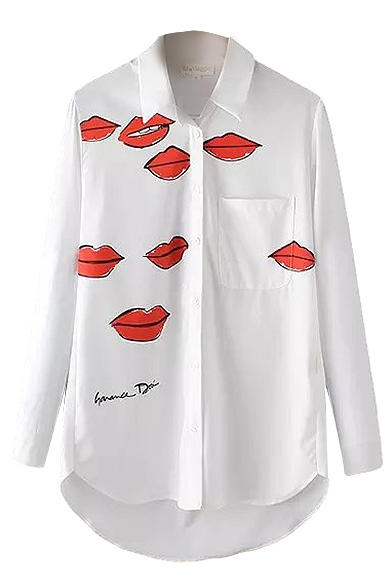 Red Lips Print Lapel Single Breasted Pocket High Low Long Sleeve Shirt