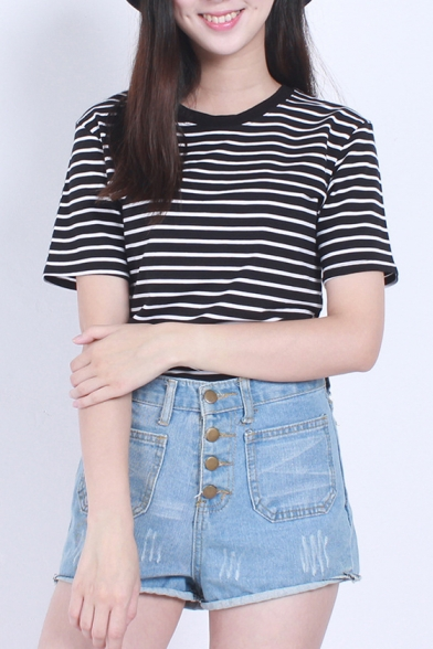 Round Neck Stripe Short Sleeve T-Shirt