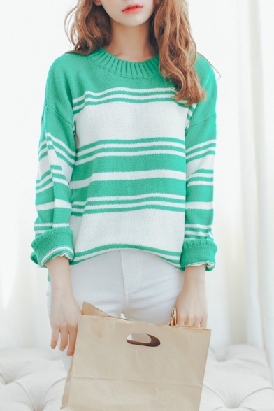 Color Block Stripe Long Sleeve Round Neck Knit Pullover Sweater