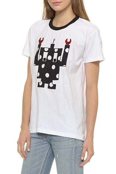 Tee Robot Short Neck Cartoon Sleeve Round wBz4qxwaR