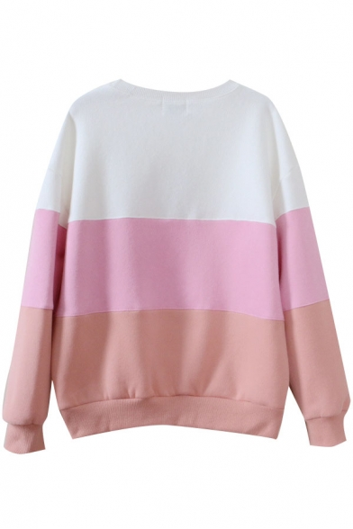 Sleeve Long Print Block Sweatshirt Round Neck Color xqpWwCnU77