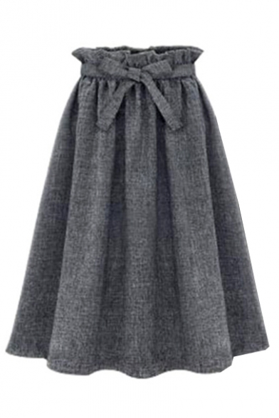 Plain Ruffle Hem Tie Waist Pleated Midi A-Line Skirt ...