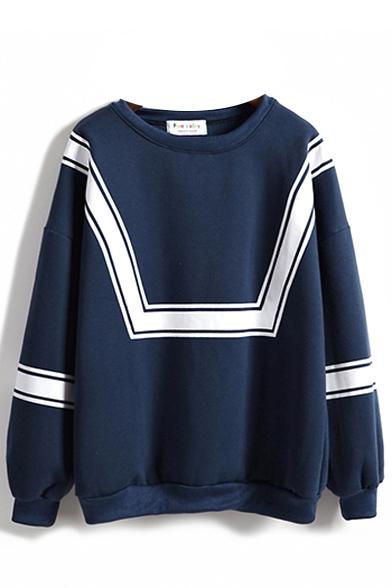 Stripe Print Long Sleeve Round Neck Sweatshirt
