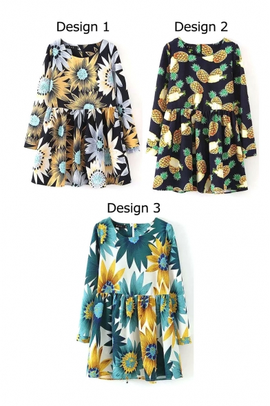 Sunflowers Print Round Neck Zip Back Long Sleeve Smock Dress