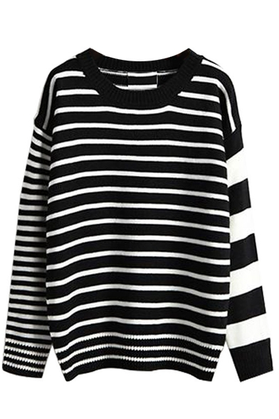 Color Block Stripe Round Neck Long Sleeve Sweater