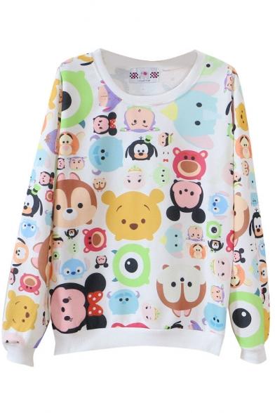 Cute Cartoon Animals Print Round Neck Long Sleeve Sweatshirt