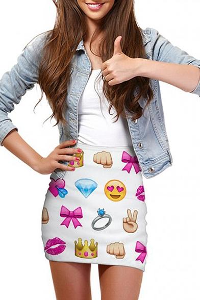 Emoji Print Elastic Waist Mini Wrap Skirt
