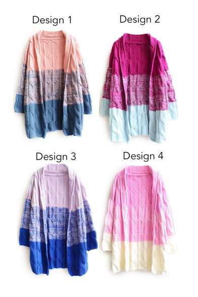 Lapel Color Block Long Sleeve Cable Open Front Longline Cardigan