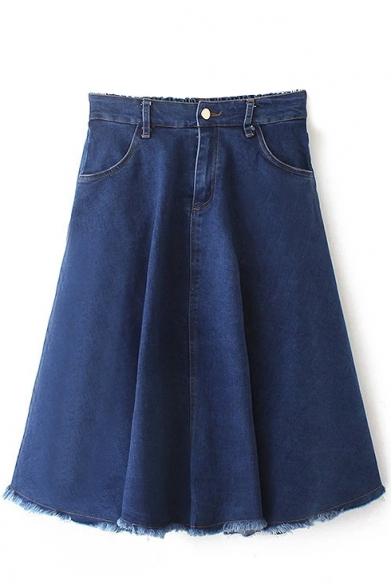 Plain Elastic Back Raw Hem Zip Fly Flared Midi Skirt