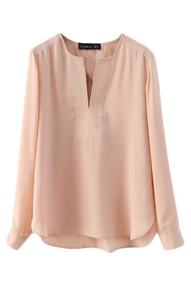 Plain Split Front Long Sleeve Round Neck Shirt