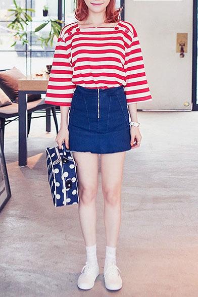 Plain Zip Front Denim Mini A-Line Skirt