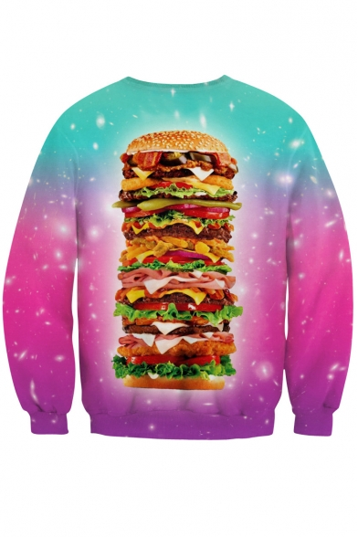 Dye Neck Hamburger 3D Sleeve Long Sweatshirt Big Print Round Tie CYUY4nx5
