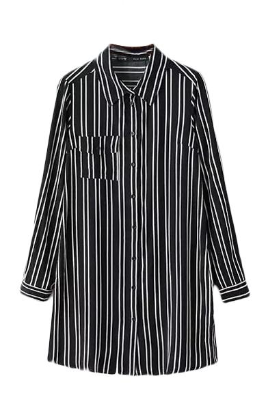 Black Background White Stripe Lapel Pocket Long Sleeve Shirt
