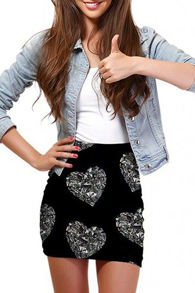 Crystal Heart Print Elastic Waist Mini Wrap Skirt