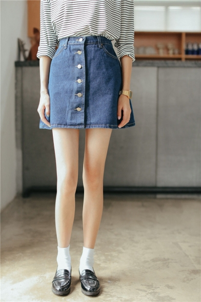 Plain Button Fly Denim Mini A-Line Skirt - Beautifulhalo.com