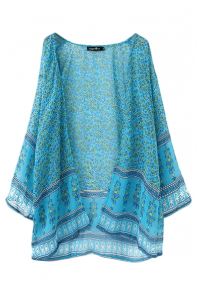 V-Neck Floral Print Batwing Sleeve Open Front Kimono
