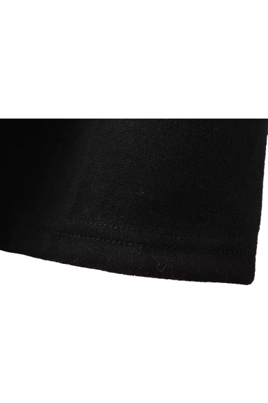 Black Lapel Long Sleeve Zipper Back A-Line Dress